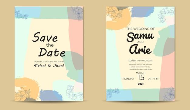 Retro bloem huwelijksuitnodiging halverwege de eeuw sjabloon