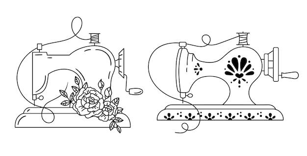 Retro bloemen en sierlijke naaimachine zwart-wit geïsoleerde clipart illustratie