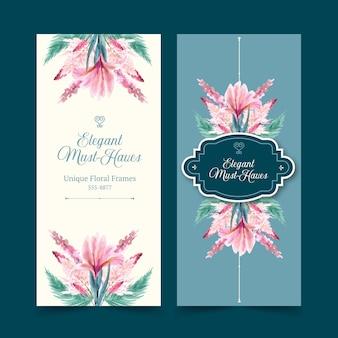 Retro bloemen flyers in aquarel stijl