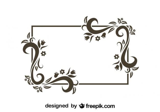 Retro bloemen frame ontwerp