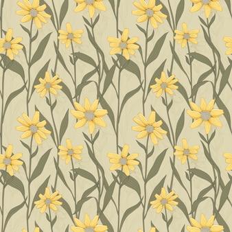 Retro bloemen naadloos patroon met geel madeliefje