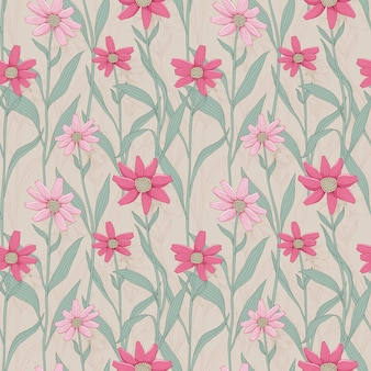 Retro bloemen naadloos patroon met roze madeliefje