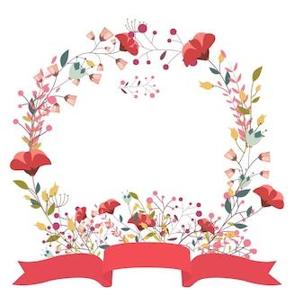 Retro bloemenframe en lint
