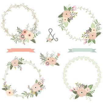 Retro bloemenkranscollecties