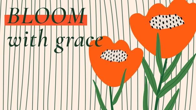 Retro bloemmotief sjabloon vector citaat voor blog banner