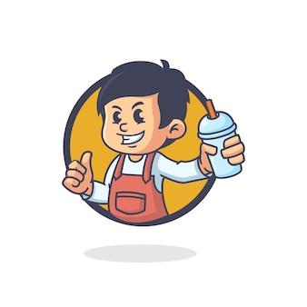 Retro boba drankje mascotte logo