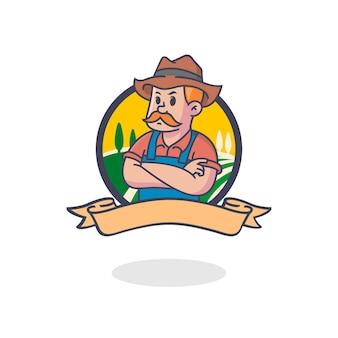 Retro boer mascotte logo