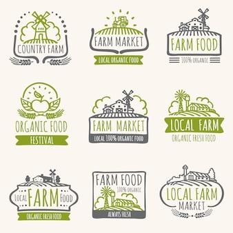 Retro boerderij markt tekenen. uitstekende verse natuurvoeding vectoretiketten met oogstgebied