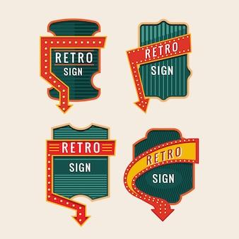 Retro borden en vintage neon borden kleurrijke collectie