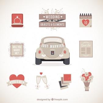 Retro bruiloft auto met andere elementen