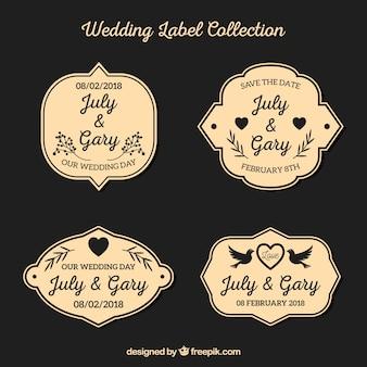 Retro bruiloft label collectie