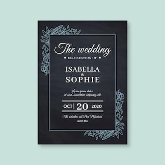 Retro bruiloft uitnodiging op donkere achtergrond