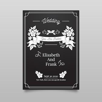 Retro bruiloft uitnodiging sjabloon op blackboard