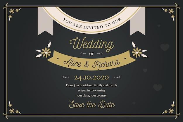 Retro bruiloft uitnodiging