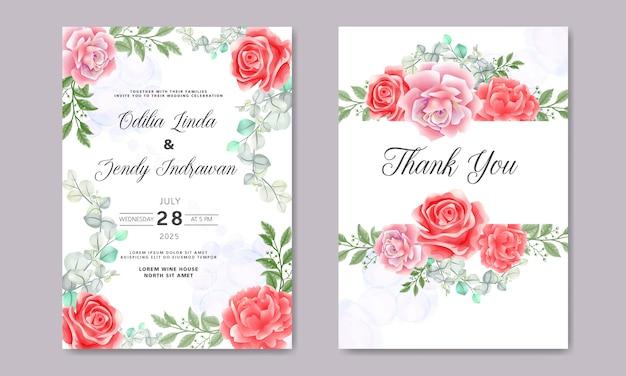 Retro bruiloft uitnodigingskaarten met prachtige bloemen