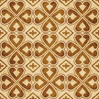 Retro bruin naadloze structuurpatroon, curve heart cross clover leaf