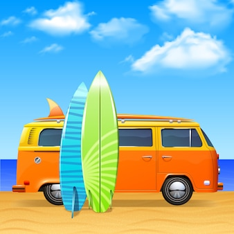 Retro bus met surfplanken