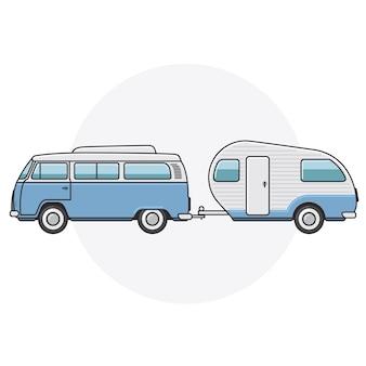 Retro busje met campertrailer - zijaanzicht van een vintage minibus