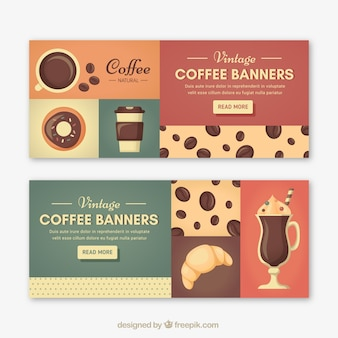 Retro cafe banners
