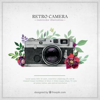 Retro camera in de hand geschilderde stijl