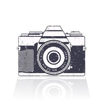 Retro camera, met grungetextuur