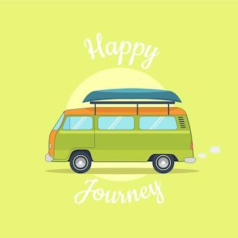 Retro camper van journey and holidays