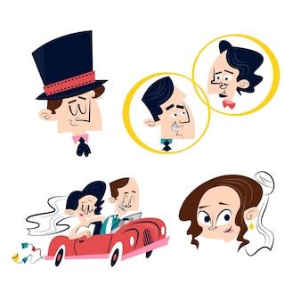 Retro cartoon bruiloft stickers met jonggehuwden in auto