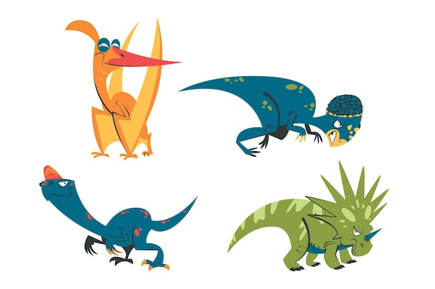 Retro cartoon dinosaurussen stickers set