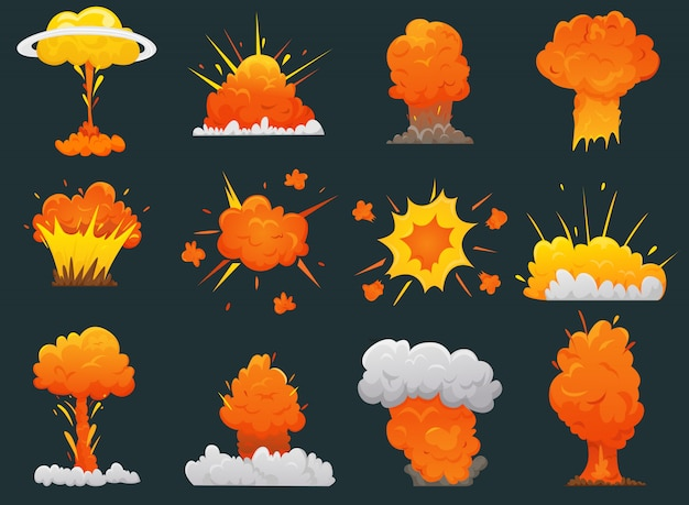 Retro cartoon explosie icon set