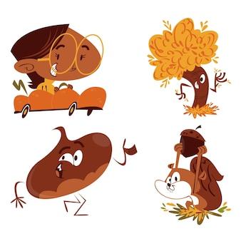 Retro cartoon herfst stickers collectie