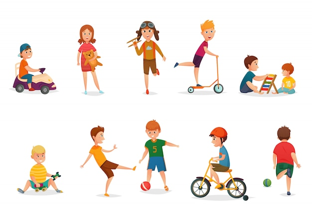 Retro cartoon kinderen spelen icon set