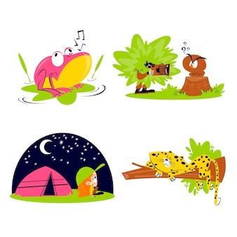 Retro cartoon natuur sticker collectie