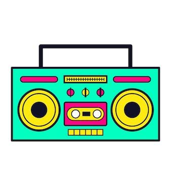 Retro cartoon neon boombox 80s audioapparaat vectorillustratie