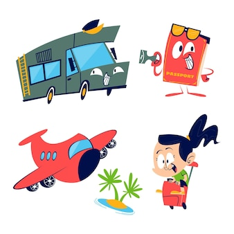 Retro cartoon reisstickers collectie