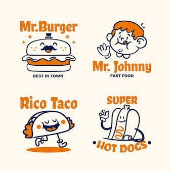 Retro cartoon restaurant logo collectie