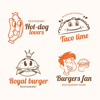 Retro cartoon restaurant logo set