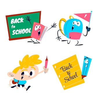 Retro cartoon terug naar school stickers set