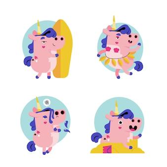 Retro cartoon ukko de eenhoorn stickercollectie