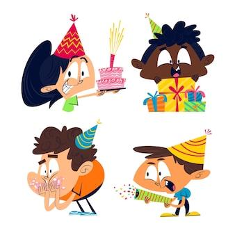 Retro cartoon verjaardag sticker pack