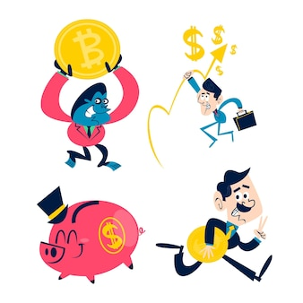Retro cartoon zakelijke stickers collectie