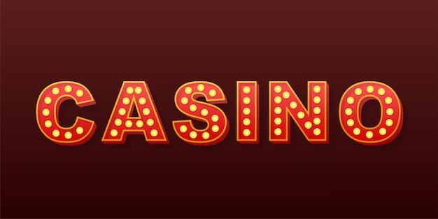 Retro casino met lichte tekst. retro gloeilamp. stock illustratie.