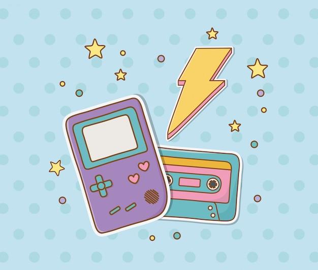 Retro cassette stickers kawaii stijl