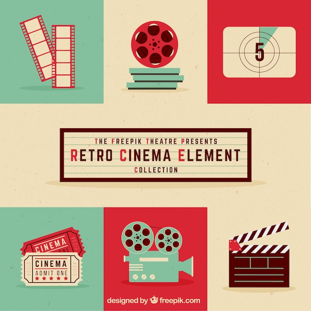 Retro cinema element collectie