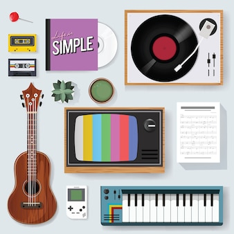 Retro classic music entertainment media gemengd pictogram