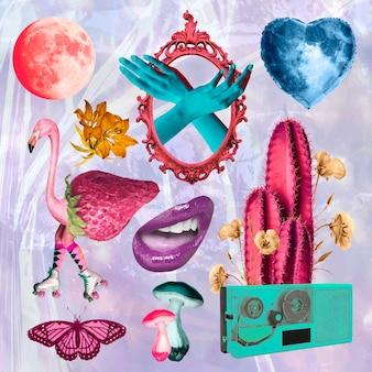 Retro collage illustratie element set vector, afdrukbare collage mixed media kunst Gratis Vector