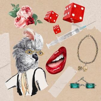 Retro collage illustratie element vector set, afdrukbare collage mixed media kunst