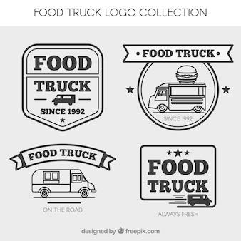 Retro collectie van het voedsel vrachtwagen logo