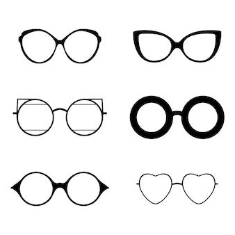 Retro collectie van verschillende brillen