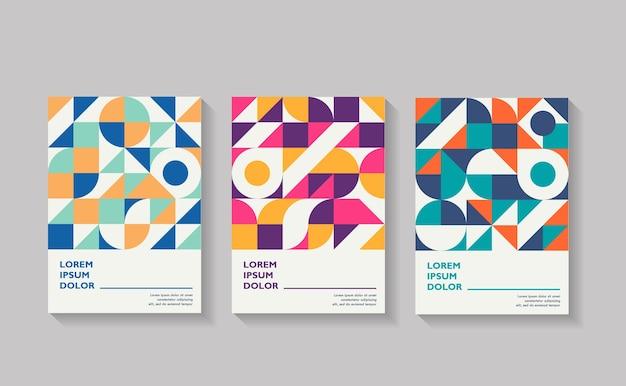 Retro covers voor jaarverslagbrochure vintage vormsamenstellingen in bauhaus-stijl