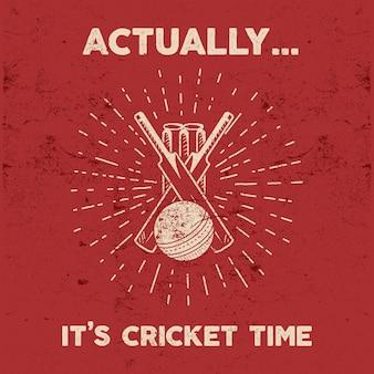 Retro cricket club embleem ontwerp. sport symbolen met versnelling, uitrusting.